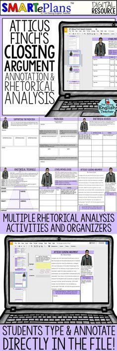 To Kill a Mockingbird digital rhetorical analysis activity! Includes Atticus' closing speech, rhetorical analysis activities, writing prompts, and rubrics. American literature. Harper Lee. High school English