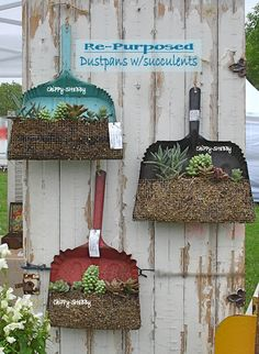 Flat-Back Funnel ~ Now Hanging Planter PeRfeCt for a Fence like this or even a Garden Shed Door. Re-Purposed Metal Ice. Garden Junk, Garden Planters, Garden Crafts, Garden Art, Garden Ideas, Flea Market Gardening, Allotment Gardening, Pinterest Garden, Outside Decorations