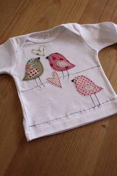 Shirt Oberteil aufpeppen, Applikation Vögel nähen, nähmalen, Vogel, Kinder Kind Baby, Nähmaschine