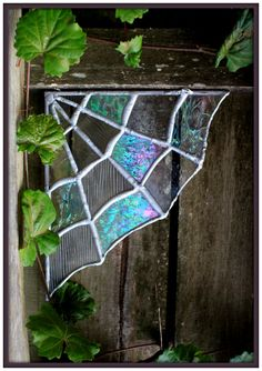 The Stained Glass Spiderweb corner truly make awesome magical & whimsical decor to an old door!