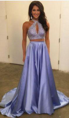 Light Blue Satin Prom Dresses Long A-line Evening