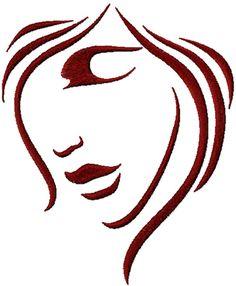 Women face free machine embroidery design. Machine embroidery design. www.embroideres.com
