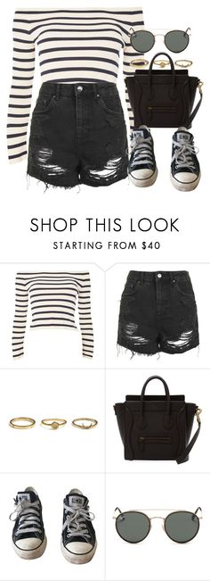 """Sin título #13159"" by vany-alvarado ❤ liked on Polyvore featuring Topshop, Converse and Ray-Ban"