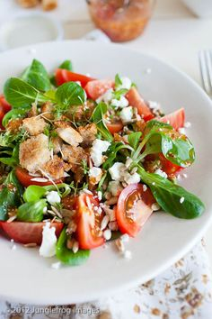 Salad with feta and tomatoes. This looks perfect.