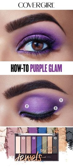 Here's how to create the Purple Glam Eye designed by COVERGIRL Creative Director Pat McGrath. It's the perfect holiday look! Start by applying Quartz in crease starting from outer corner. Next, use Amethyst across eyelid and wrap around along bottom lash line. Add Onyx across top lash line creating a soft, defined line. Line with Intensify Me! Liner beneath the eye. Complete with So Lashy! Mascara and apply multiple coats for added volume.