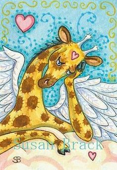 Art 'ALL GOOD GIRAFFES GO TO HEAVEN' - by Susan Brack from GIRAFFE
