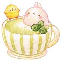 Molang and Piupiu enjoying green tea latte~