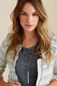 Stella & Dot   Gitane Tassel Necklace. Wear it multiple ways. So great in silver.
