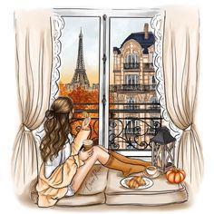 Cute Girl Wallpaper, Disney Wallpaper, Illustration Art, Illustrations, Paris Girl, Cute Girl Drawing, Girly Drawings, Fashion Wall Art, Cartoon Art Styles