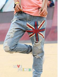 Fray Union Jack pattern all-match straight jeans Jeans Outlet, Skinny Jeans Style, Fashion Shoes, Fashion Outfits, Cheap Jeans, Union Jack, Korean Outfits, Clothes For Sale, Wholesale Clothing