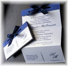 Znalezione obrazy dla zapytania zaproszenia ślubne granatowe