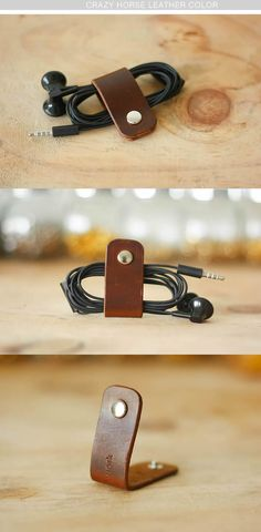 2pcs/lot Leather Headphones Cord Organizer