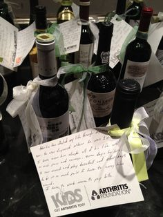 Typical Wine Grab but we added a personal note on each bottle from the folks who ultimately benefit from the funds raised.  A great personal touch that cost us nothing.