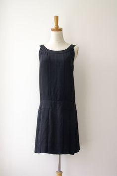 90s Black pinafore dress. Black silk pinafore dress. Schoolgirl dress. Black drop waist dress. 90s does 20s dress. Minimalist. Size S by ForestHillTradingCo on Etsy