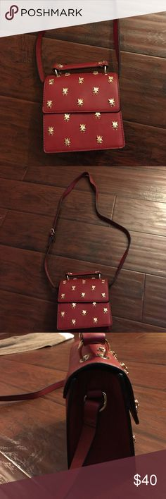 Red with gold embellishments Zara crossbody Cute and fun Zara red crossbody with gold bee embellishment Zara Bags Crossbody Bags