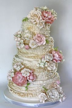 Wedding Cakes ruffled-wedding-cake by Coco Paloma Desserts. this is the most romantic, beautiful cake! - Austin-based pastry artist Paloma Efron, of Coco Paloma Desserts, gives us the scoop on how she created this romantic wedding cake. Beautiful Wedding Cakes, Gorgeous Cakes, Pretty Cakes, Amazing Cakes, Cake Wedding, Take The Cake, Love Cake, Super Torte, Gateaux Cake