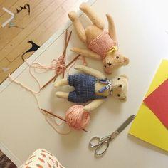POLKA DOT CLUB - new knits- on the worktable- handmade teddy bears