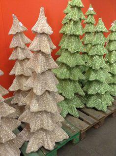 Glittery trees Alternative Christmas Tree, Christmas Trees, Burlap Wreath, Tree Skirts, Wreaths, Holiday Decor, Home Decor, Xmas Trees, Garlands