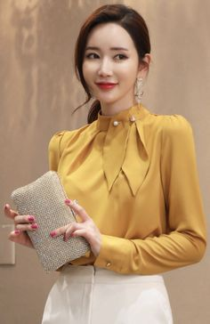 StyleOnme_Brooch Set Neck Tie Detail Blouse #mustard #pearl #blouse #elegant #koreanfashion #kstyle #kfashion #winterlook #seoul