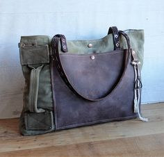 Recycled military canvas bag antique french military bag