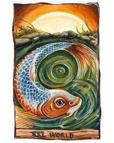 World Tarot Card Art Koi Fish Print 8x10 Wall by rainbowofcrazy, $17.50