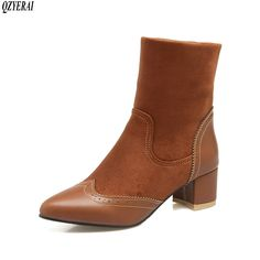 Find More Ankle Boots Information about QZYERAI 2018 new women's short boots warm women's boots in autumn and winter pointed low heeled women's shoes women's shoes,High Quality Ankle Boots from Shop GG Store on Aliexpress.com Boots For Short Women, Short Boots, Mid Calf Boots, Ankle Boots, Women's Boots, Thick Heels, Low Heels, Retro Shoes, Women Brands