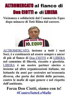 ALTROMERCATO al fianco di Don CIOTTI e di LIBERA #ControTutteLeMafie (LEGGI)