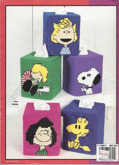 Pattern Book Only  Peanuts Tissue Box Covers In Plastic Canvas Leisure Arts #1821 Published In 1998 - 6 Pages  8 Designs - 7 Count Canvas  Snoopy Woodstock Charlie Brown Peppermint Patty Sally Linus Schroeder Lucy  This rare cute book does have some shelf wear and a sticker on the back cover but over all is in good used condition. Page one looks like it had a sticker removed, number inks marks beside one pattern and a cup stain at the bottom of the page. Page 2 has an all sales final stamp…