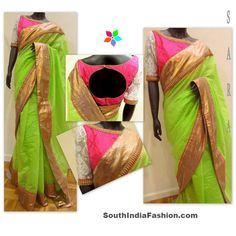 Neon Green Chanderi Saree~Latest Blouse Designs~South India Fashion