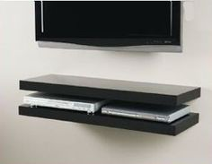 floating media shelves above tv | Floating Media Shelf Installations