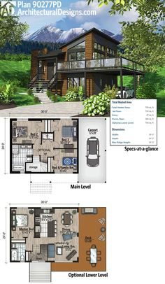 Architectural Designs Modern House Plan 90277PD. It gives you up to 4 beds if you build out the optional finished lower level (included with the plans).  Ready when you are. Where do YOU want to build? #90277PD #adhouseplans #architecturaldesigns #houseplan #architecture #newhome  #newconstruction #newhouse #homedesign #dreamhome #dreamhouse #homeplan  #architecture #architect #modern