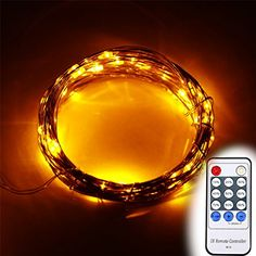 EAge 10M 12V 100 LEDs Copper Wire LED Starry lights 33ft LED String Lights  Power AdapterRemote Controller Yellow -- Want to know more, click on the image.