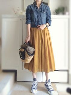 Super fashion vintage autumn casual ideas fashion women s gypsy style waistcoat Long Skirt Fashion, Long Skirt Outfits, Modest Outfits, Modest Fashion, Trendy Outfits, Fashion Dresses, Japan Fashion Casual, Vintage Mode, Moda Vintage