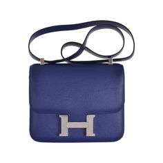 HERMES CONSTANCE BAG 24CM DOUBLE GUSSET SAPPHIRE EPSOM LEATHER JaneFinds   From a collection of rare vintage crossbody bags and messenger bags at https://www.1stdibs.com/fashion/handbags-purses-bags/crossbody-bags-messenger-bags/