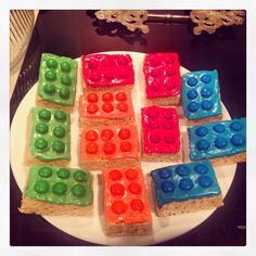 Lego Rice Krispy Treats with m&ms for Lego Party