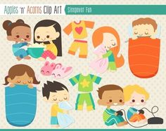 Sleepover Fun Clip Art - color and outlines $