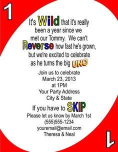 Personalized Uno 1st First Birthday Party Invitations