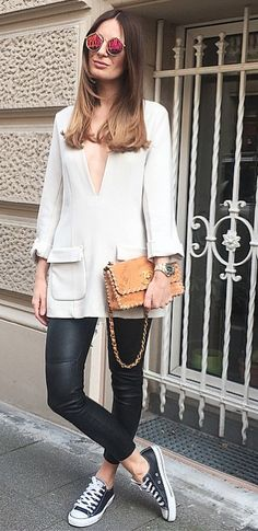 Love this sweater! white, black, converse, chanel bag, fashion, style