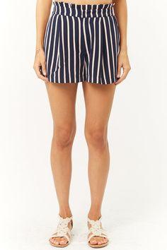 cf57e3078c77 Striped Paperbag-Waist Shorts F21