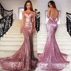 Sparkly Rose Gold Prom Dresses Mermaid Criss Cross Strap V Neck Sequined Open Back Dresses Evening Wear Red Carpet Dress Formal Gowns One Shoulder Prom Dress Prom Dress For Sale From Molly_bridal, $85.13| Dhgate.Com