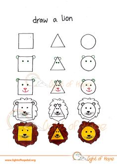 Draw a lion from basic shape.   Get the whole printable series here: http://lightofhopebd.org/?product=shape-artist-learn-to-draw-from-square-triangle-and-circle