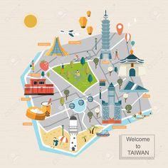 48666465-lovely-Taiwan-travel-map-design-in-flat-style-Stock-Vector-taiwan.jpg (1300×1300)