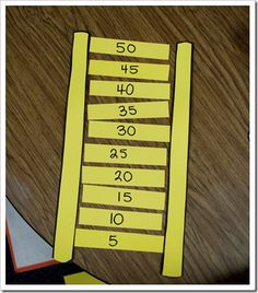 an idea for making a skip counting ladder.Here's an idea for making a skip counting ladder. Math Classroom, Kindergarten Math, Teaching Math, Teaching Ideas, Skip Counting Activities, Math Activities, Counting In 5s, Math Games, Math Stations