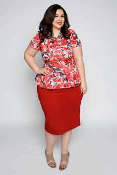 Plus Size Clothing for Women - EmpoweRED Floral Plus Size Top (Sizes 14 - 20) - Society+ - Society Plus - Buy Online Now!