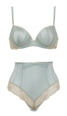 Rosie Huntington Whiteley for Marks and Spencer, smokey blue bra and and high waisted knicker