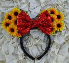 Hey, I found this really awesome Etsy listing at https://www.etsy.com/listing/288097631/sunflower-minnie-ears