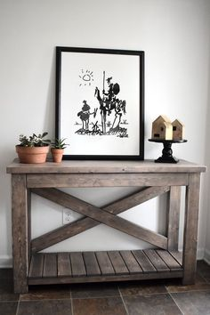 X Style Rustic Console Table Pink Elm Martket Diy Furniture Projects, Plywood Furniture, Furniture Plans, Home Furniture, Painted Furniture, Modern Wood Furniture, Furniture Design, Coaster Furniture, Rustic Console Tables