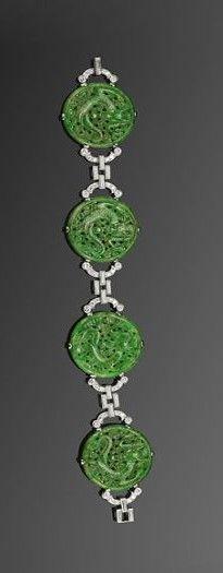 Art Deco Carved Jade Dragon Motif Plaque and Diamond Bracelet, circa 1925