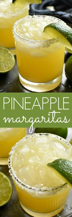 The BEST Pineapple Margaritas. perfect for Cinco de Mayo! Refreshing Cocktails, Summer Drinks, Cocktail Drinks, Fun Drinks, Cocktail Recipes, Beverages, Fresh Mint Lemonade Recipe, Pink Lemonade Recipes, Party Drinks Alcohol