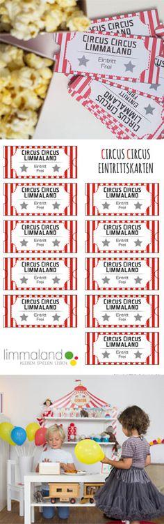 Circus Party und Spiele - Eintrittkarten gehören immer dazu. Free Printable auf dem limmaland.com/blog